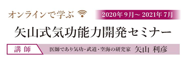 オンラインで学ぶ 2020年9月~2021年7月 矢山式気功能力開発セミナー 講師 医師であり気功・武道・空海の研究者 矢山 利彦